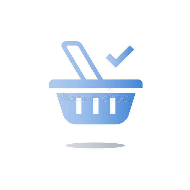 Simbolo del canestro dell'alimento, acquisto di drogheria, concetto di commercio elettronico, icona piana illustrazione vettoriale