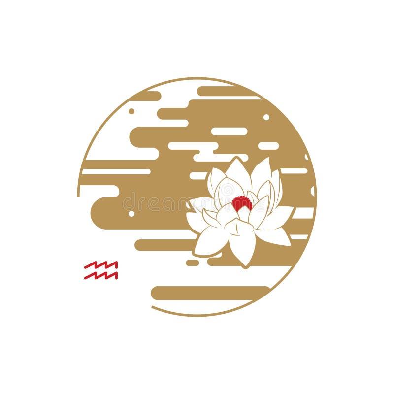 Simbolo del cerchio dello zodiaco aquarius illustrazione vettoriale