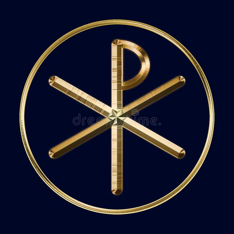 Simbolo del 'chi'-Rho sul blu fotografia stock