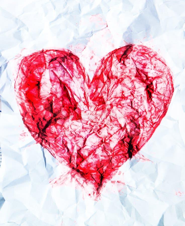 Simbolo del cuore, amore e fondo di concetto di relazione Raccolta strutturata acquerella fotografia stock