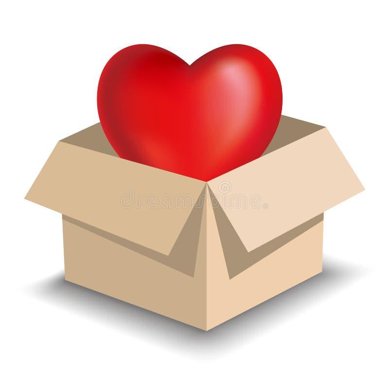 Simbolo del cuore in cartone marrone Pendenze in forma di cuore di griglia di uso di simboli illustrazione di stock