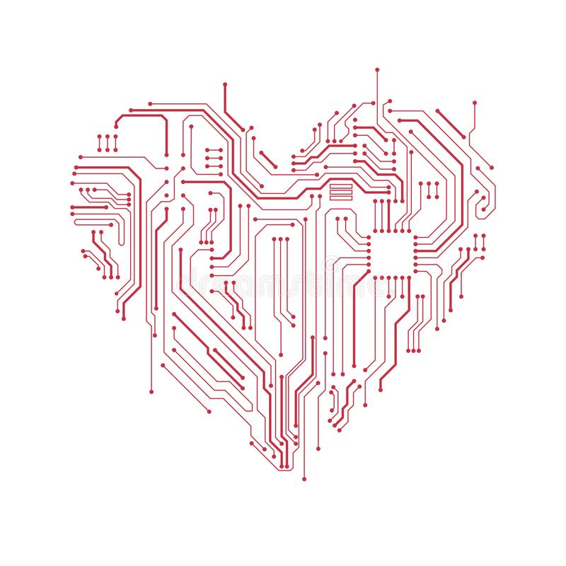 Simbolo del cuore del circuito illustrazione vettoriale