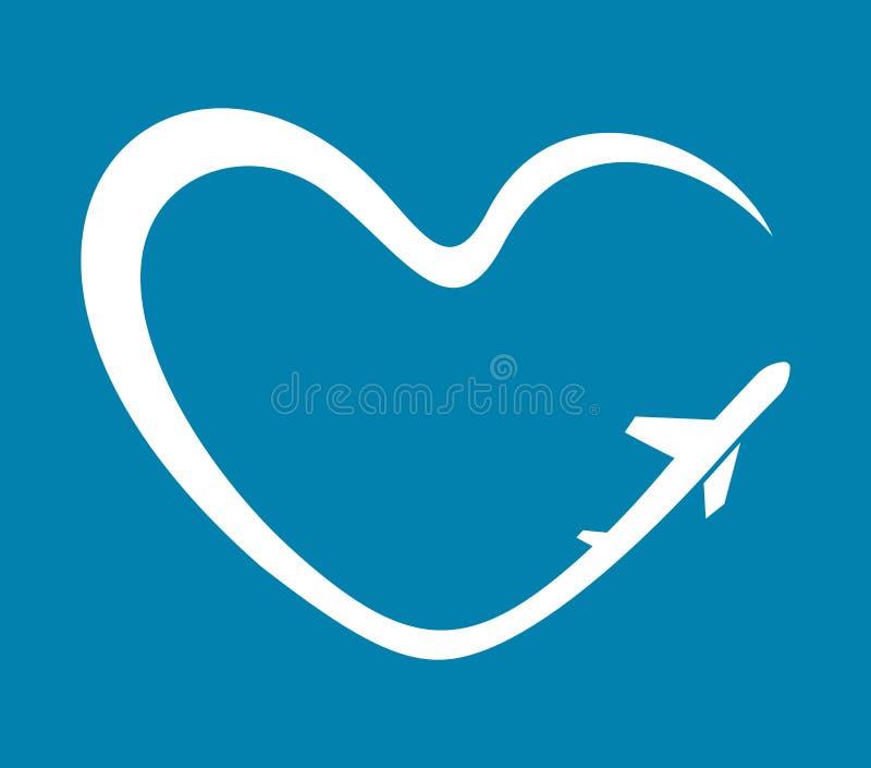 Simbolo del cuore dell'aeroplano illustrazione vettoriale