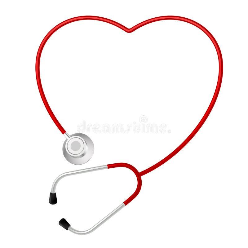 Simbolo del cuore dello stetoscopio illustrazione vettoriale