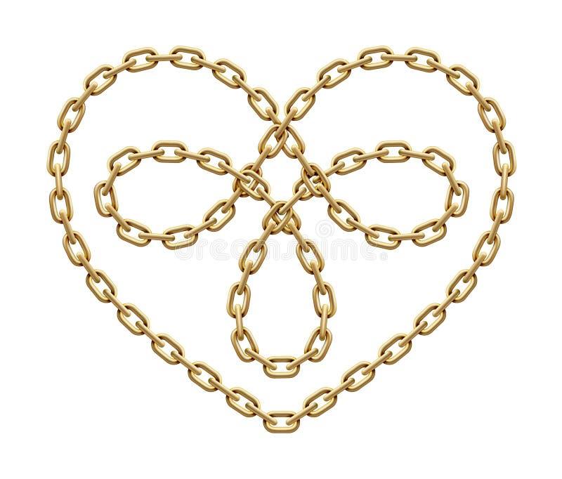 Simbolo del cuore fatto delle catene dorate Segno triplo di amore Illustrazione di vettore illustrazione di stock