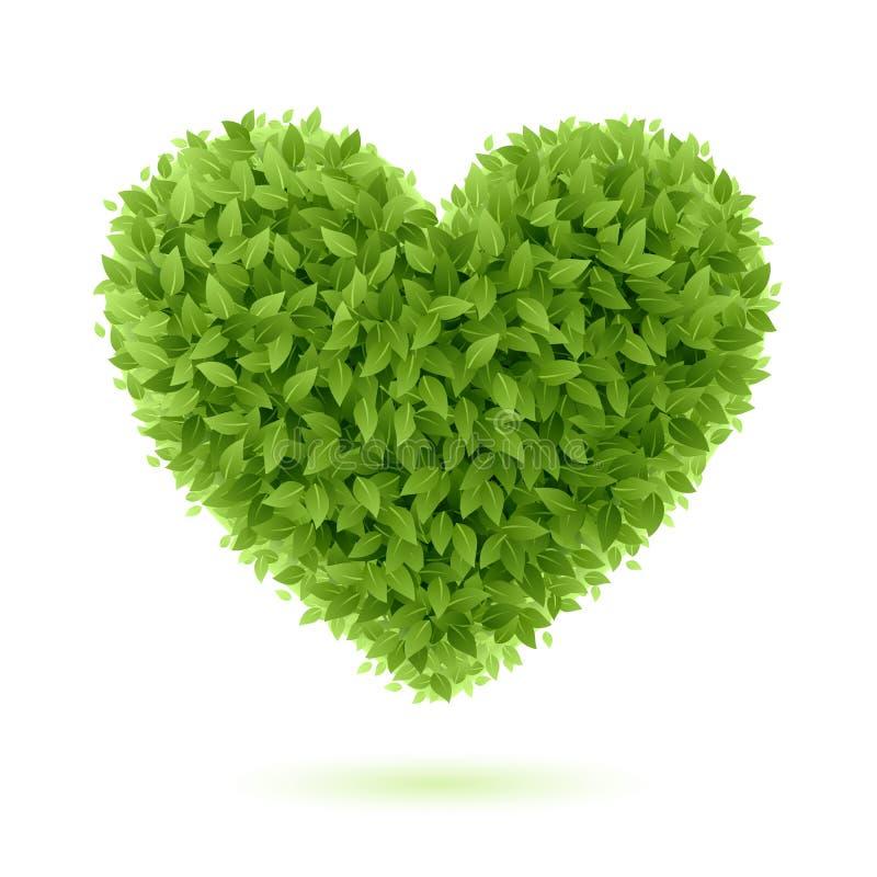 Simbolo del cuore in fogli verdi illustrazione vettoriale