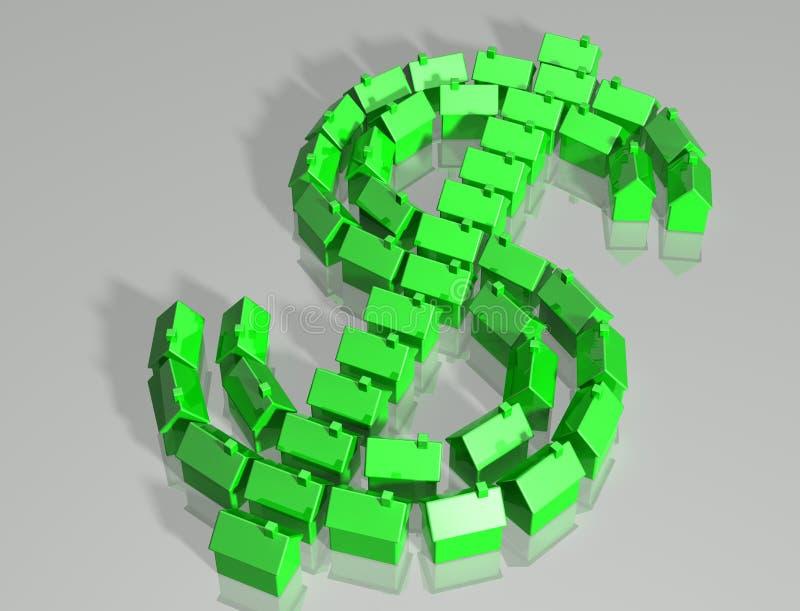Simbolo del dollaro del mercato degli alloggi illustrazione di stock