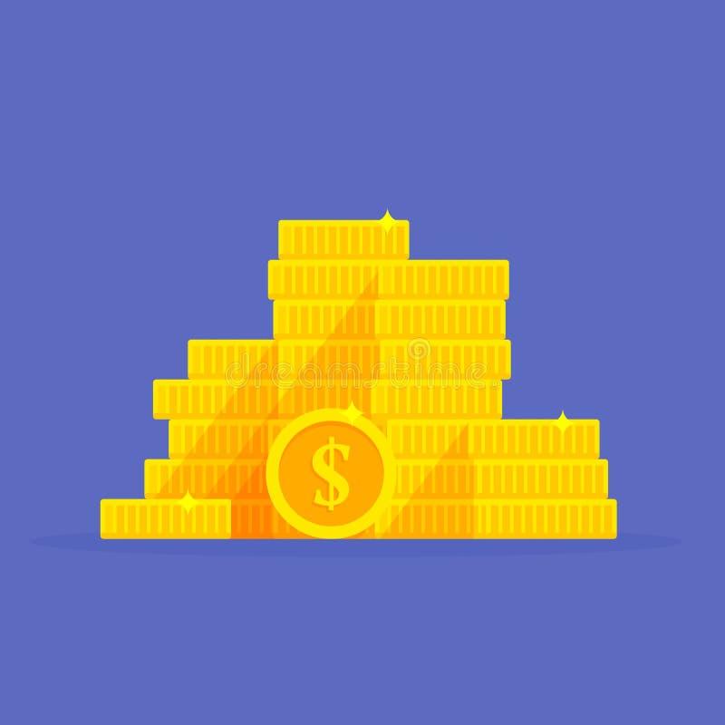 Simbolo del dollaro della pila delle monete di oro Illustrazione di vettore del fumetto del mucchio dei soldi illustrazione vettoriale