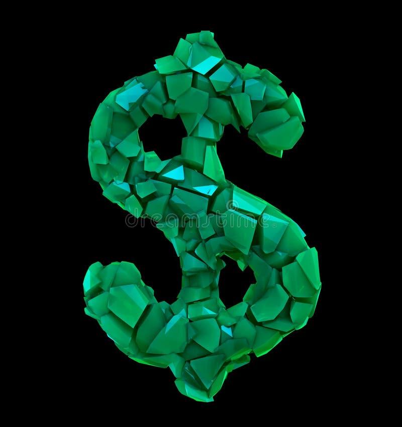 Simbolo del dollaro in un'illustrazione 3D fatta di colore verde di plastica rotto isolato sul nero royalty illustrazione gratis