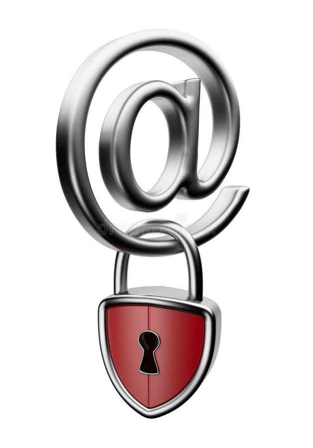 Simbolo del email con la serratura 3D. Concetto di obbligazione illustrazione di stock