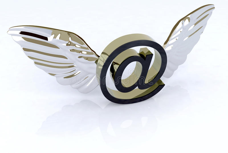 Simbolo del email con le ali illustrazione vettoriale