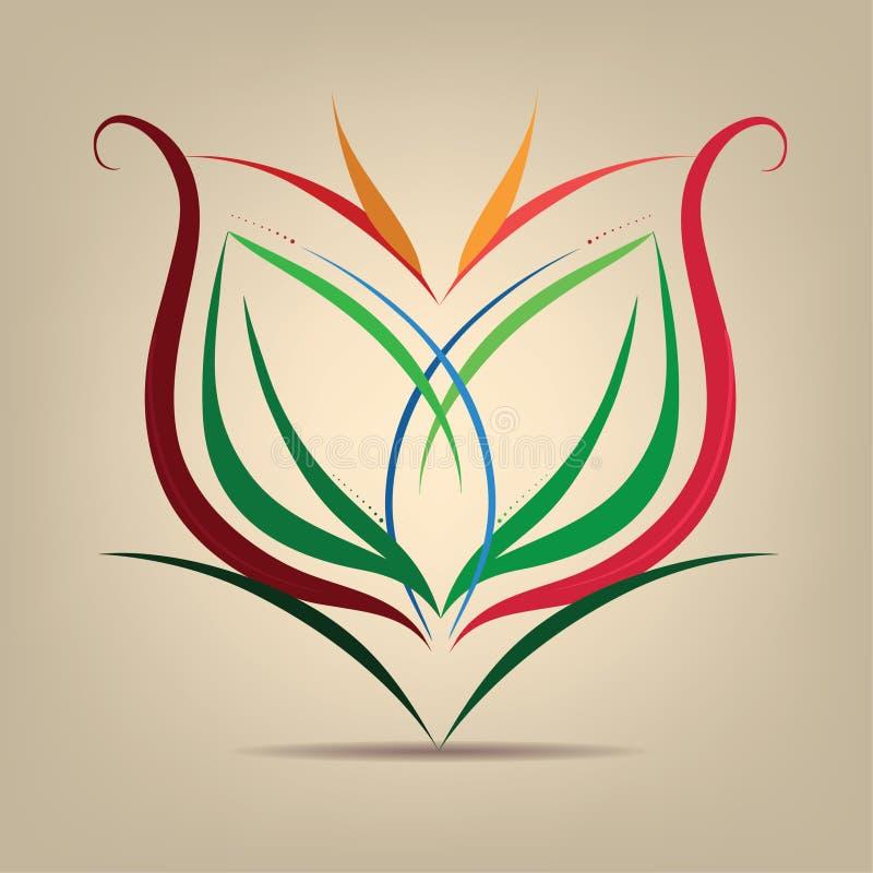 Simbolo del fiore nell'estratto illustrazione vettoriale