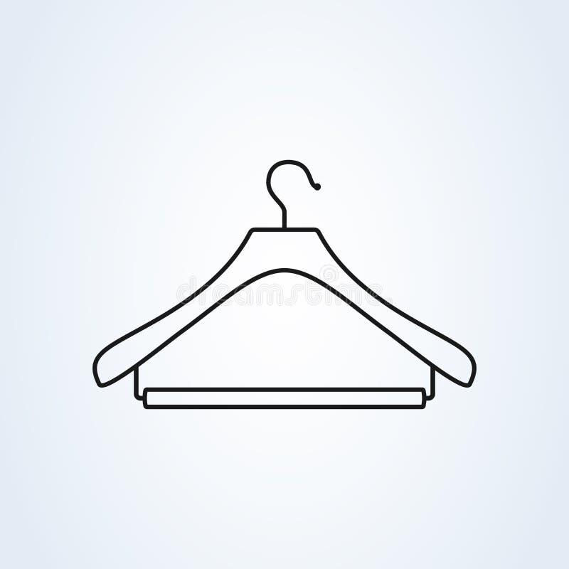 Simbolo del gancio, della lavanderia o del guardaroba linea illustrazione piana di vettore di stile di arte illustrazione vettoriale