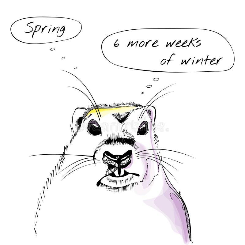 Simbolo del giorno della marmotta con testo e l'acquerello illustrazione vettoriale