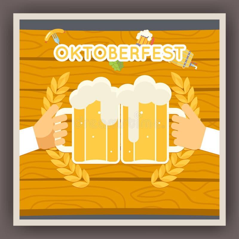 Simbolo del manifesto di celebrazione di festival di Oktoberfest illustrazione vettoriale