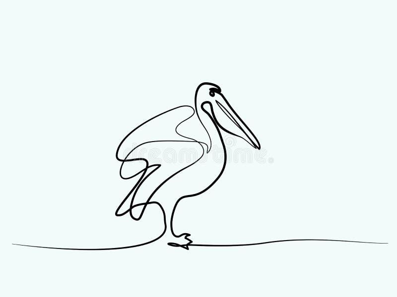 Simbolo del minimalista del pellicano illustrazione di stock