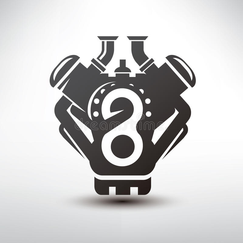 Simbolo del motore di automobile, siluetta stilizzata di vettore royalty illustrazione gratis