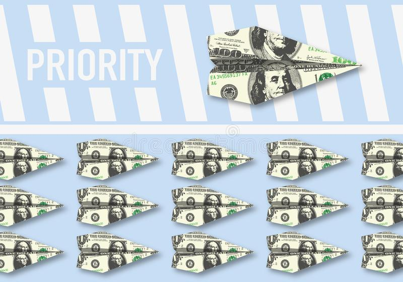 Simbolo del potere di soldi che le elasticità radrizzano ai privilegi royalty illustrazione gratis