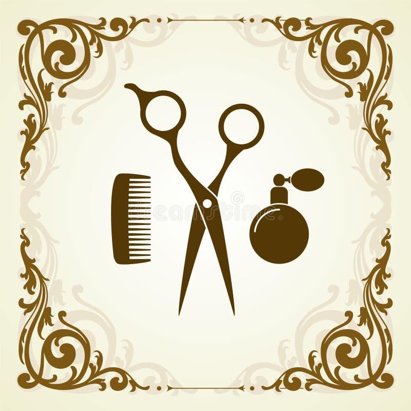 Simbolo del salone di bellezza con le forbici illustrazione vettoriale