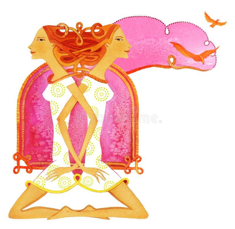 Simbolo del segno astrologico dei Gemelli illustrazione di stock