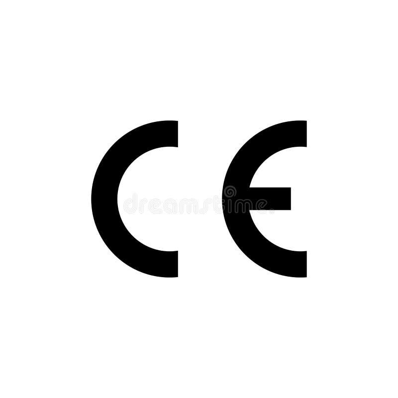 Simbolo del segno del CE Marchio di certificazione europeo di conformità Illustrazione di vettore, progettazione piana illustrazione vettoriale