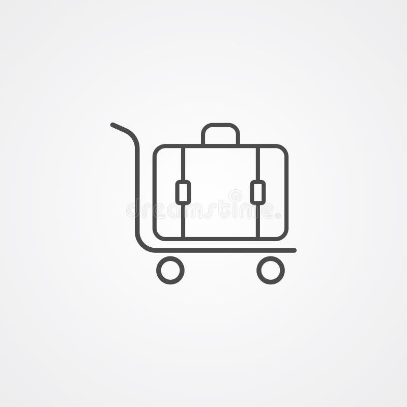 Simbolo del segno dell'icona di vettore del carrello dei bagagli illustrazione di stock