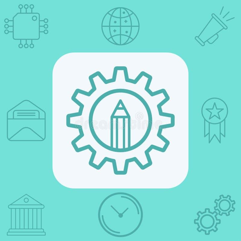 Simbolo del segno dell'icona di vettore della matita illustrazione di stock