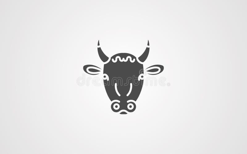 Simbolo del segno dell'icona di vettore della mucca illustrazione di stock