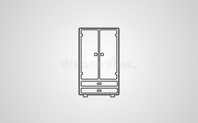 Simbolo del segno dell'icona di vettore del guardaroba illustrazione di stock