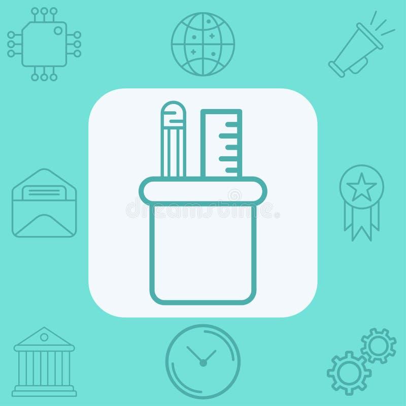Simbolo del segno dell'icona di vettore del supporto della matita illustrazione vettoriale
