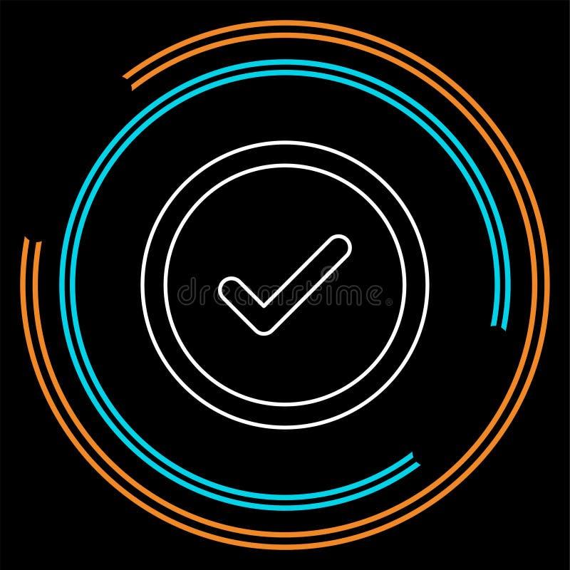 Simbolo del segno di spunta di vettore - sì o okay - segno approvato, lista di controllo di voto illustrazione di stock