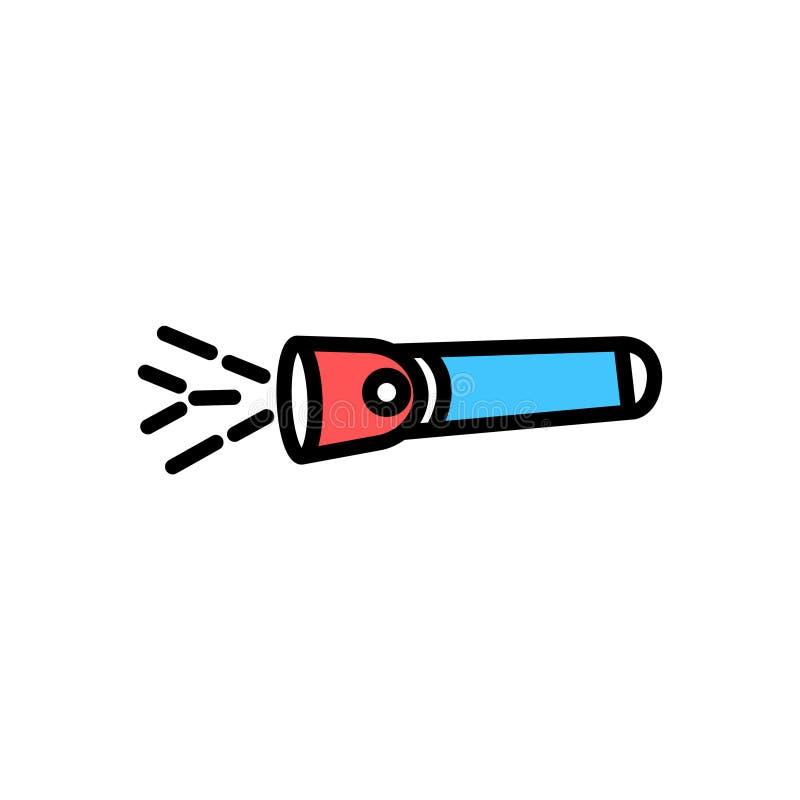Simbolo del segno di vettore dell'icona della torcia elettrica illustrazione vettoriale