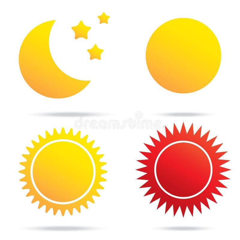 Simbolo del sole e della stella della luna illustrazione di stock