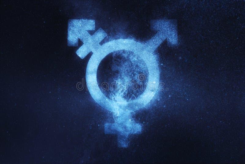 Simbolo del transessuale Segno di genere del trasporto Backg astratto del cielo notturno immagini stock