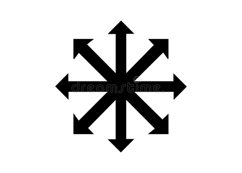 Simbolo del vettore di caos isolato su fondo bianco Un simbolo che proviene dal campione eterno, pi? successivamente adottato dag royalty illustrazione gratis