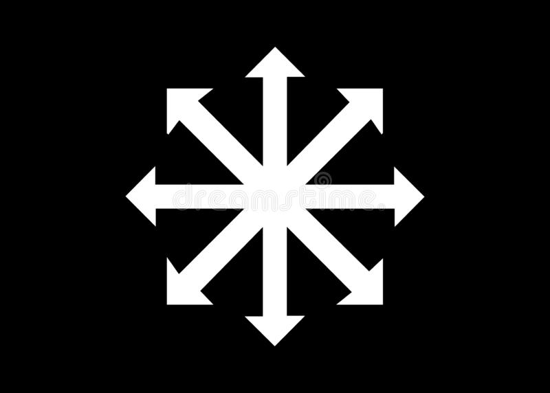 Simbolo del vettore di caos isolato su fondo nero Un simbolo che proviene dal campione eterno, pi? successivamente adottato dagli royalty illustrazione gratis