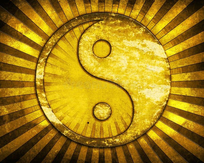 Simbolo del yang del yin dell'oro royalty illustrazione gratis
