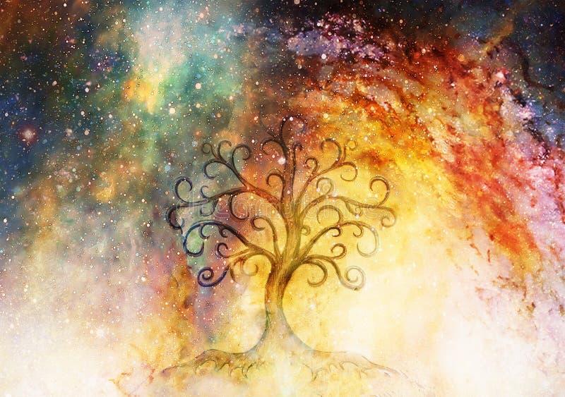 Simbolo dell'albero della vita sul fondo dello spazio e strutturata, fiore del modello di vita, yggdrasil fotografia stock