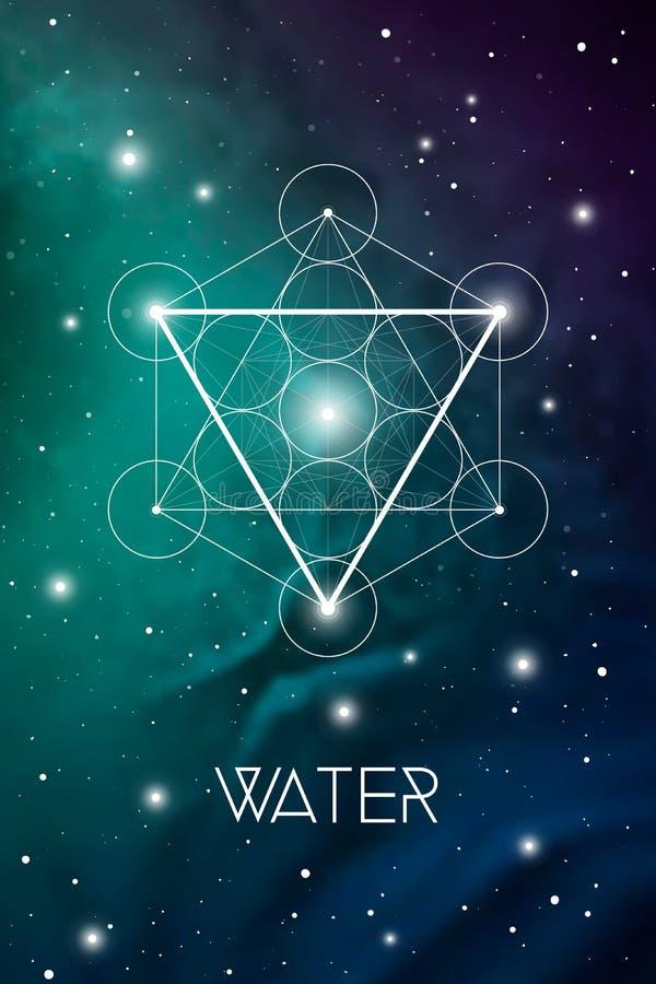 Simbolo dell'elemento dell'acqua dentro il cubo di Metatron ed il fiore di vita davanti al fondo cosmico dello spazio cosmico La  illustrazione di stock