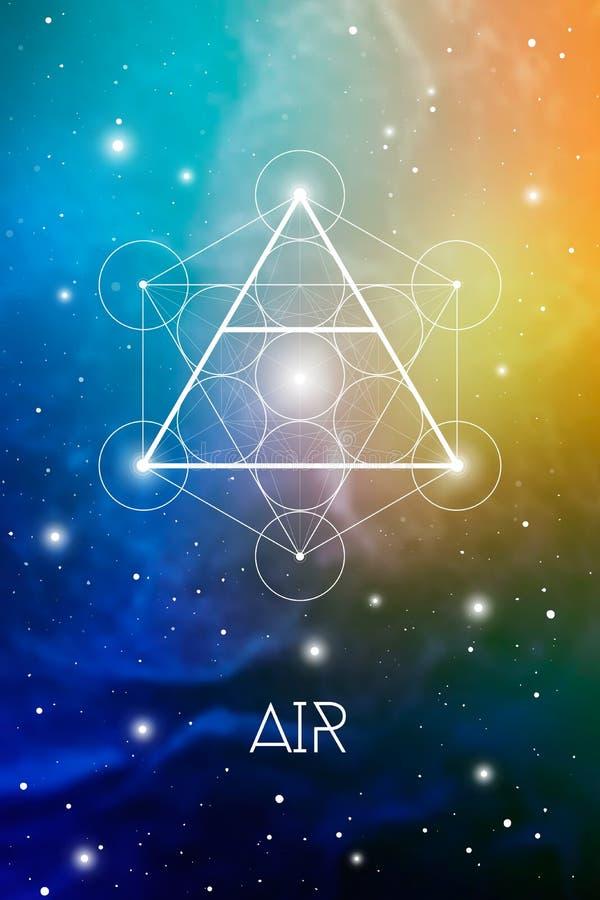 Simbolo dell'elemento dell'aria dentro il cubo di Metatron ed il fiore di vita davanti al fondo cosmico dello spazio cosmico La g royalty illustrazione gratis