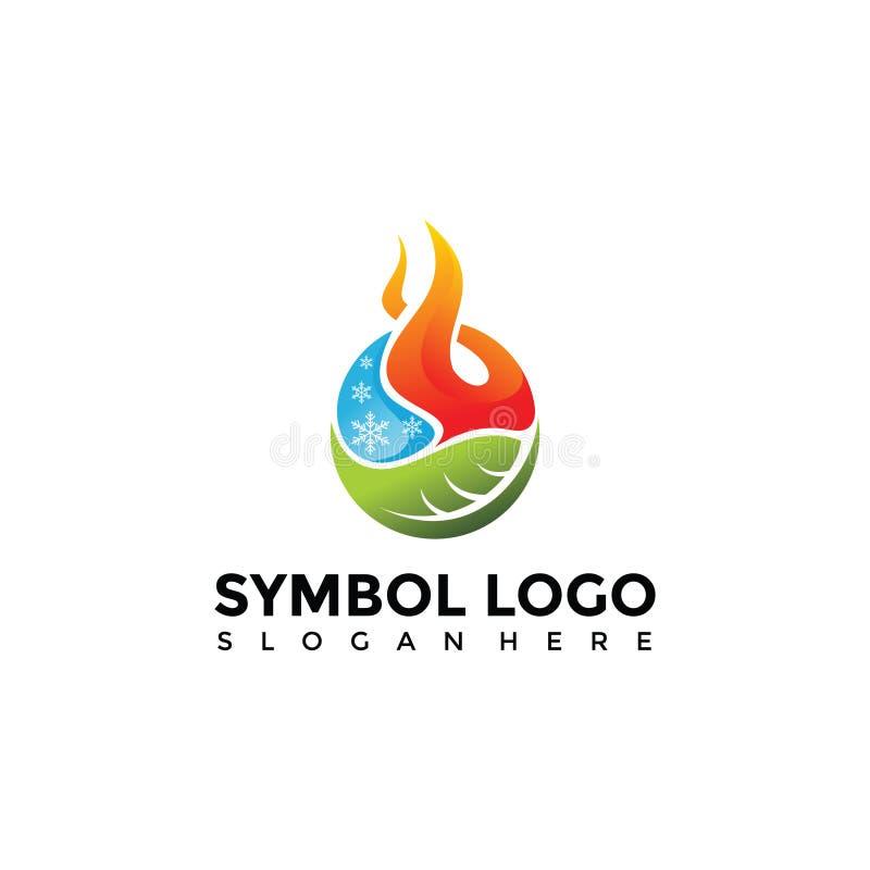 Simbolo dell'elemento di fuoco, acqua, natura Logo Template Illu di vettore royalty illustrazione gratis