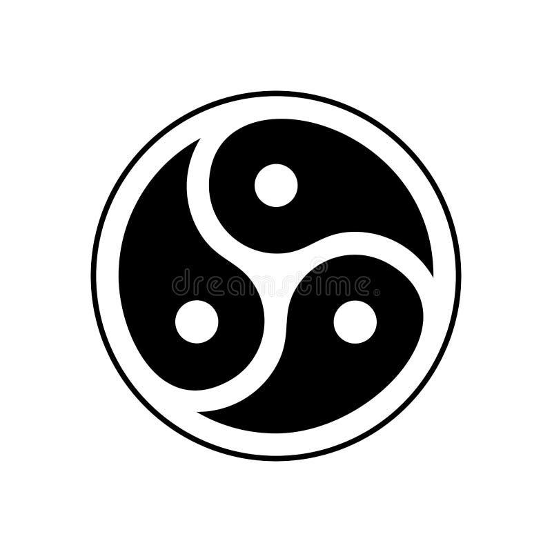 Simbolo dell'emblema di BDSM isolato Subcoltura sessuale di logo illustrazione vettoriale