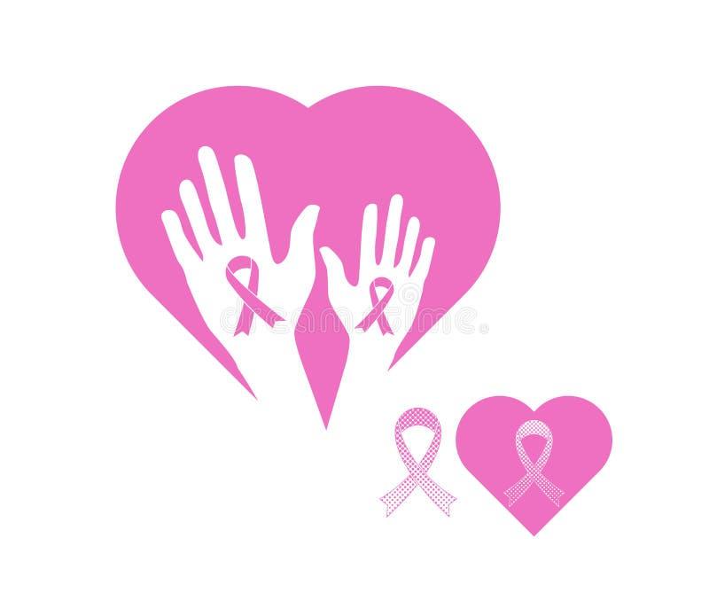 Simbolo dell'icona del nastro di consapevolezza del cancro al seno illustrazione di stock