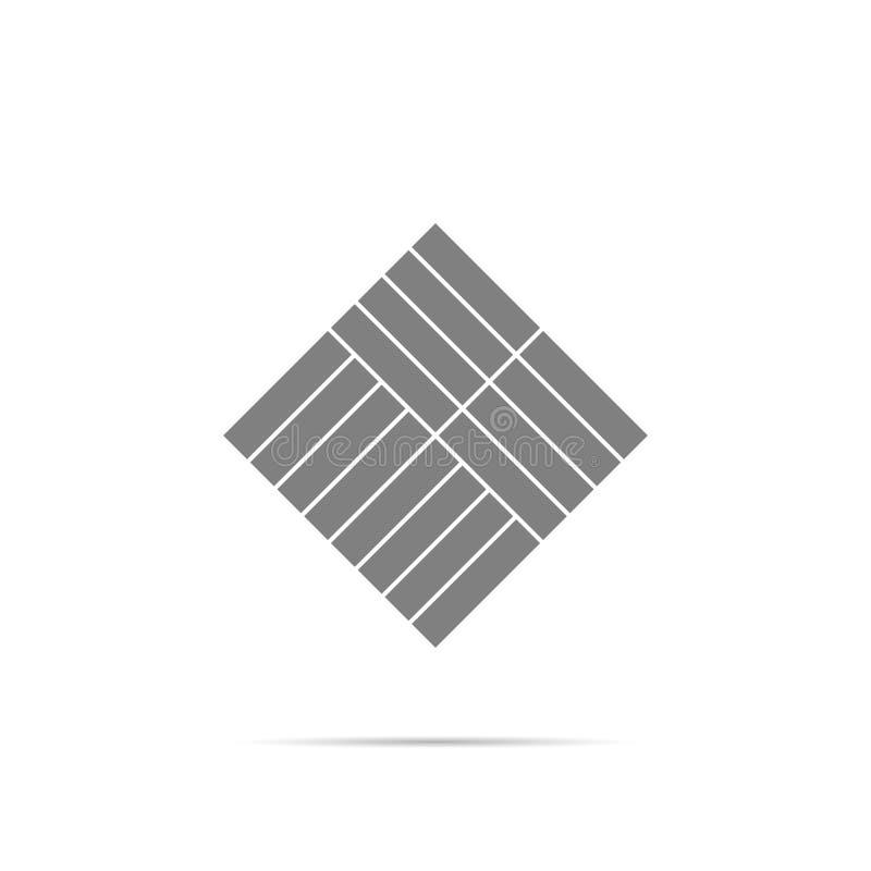 Simbolo dell'icona del parquet con ombra illustrazione vettoriale