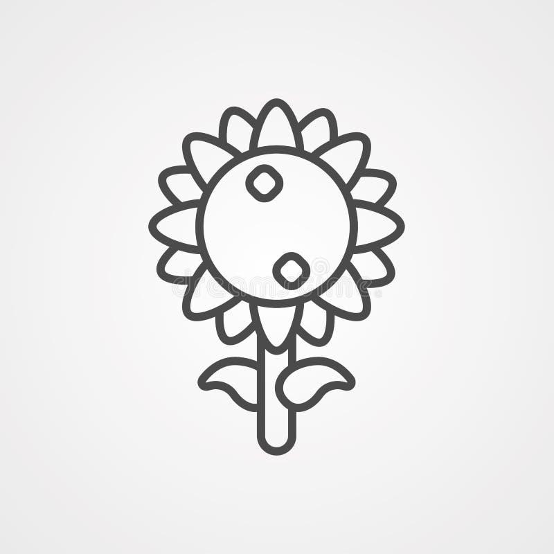 Simbolo dell'icona del vettore di girasole illustrazione vettoriale