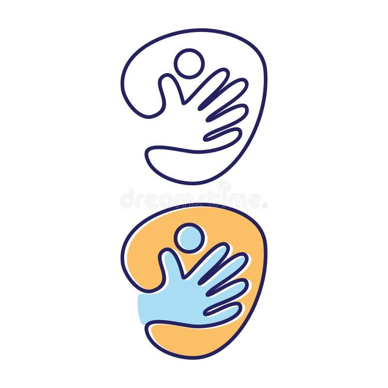 Simbolo dell'icona della gente della mano dell'estratto di vettore sui precedenti bianchi illustrazione vettoriale