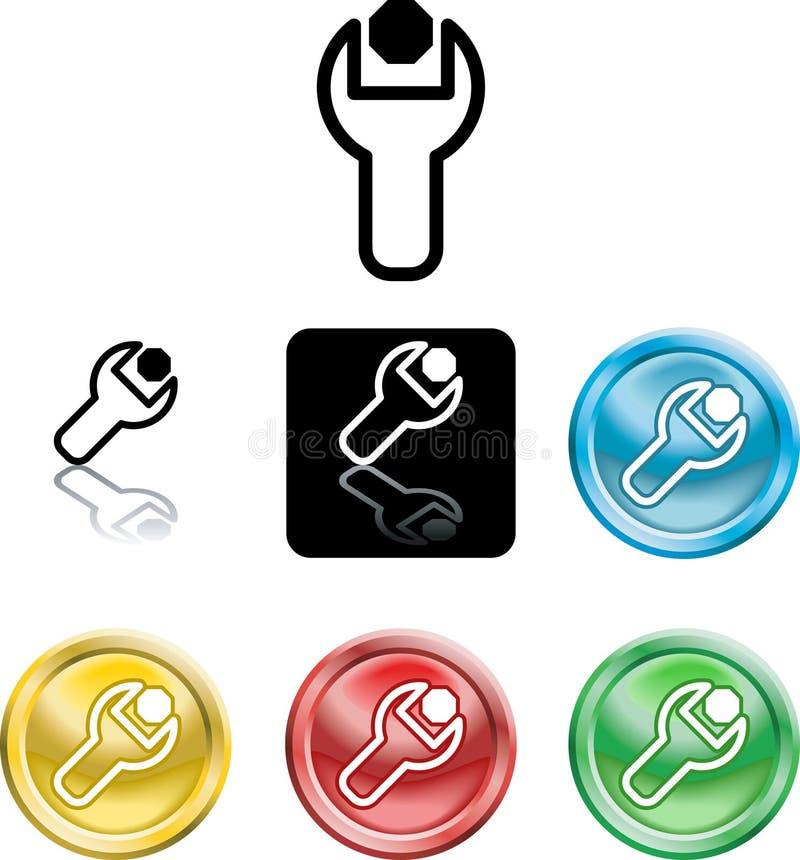 Simbolo dell'icona della noce e della chiave illustrazione di stock