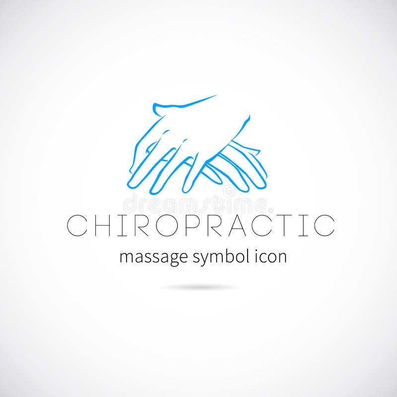 Simbolo dell'icona di concetto di vettore di massaggio di chiroterapia o illustrazione vettoriale