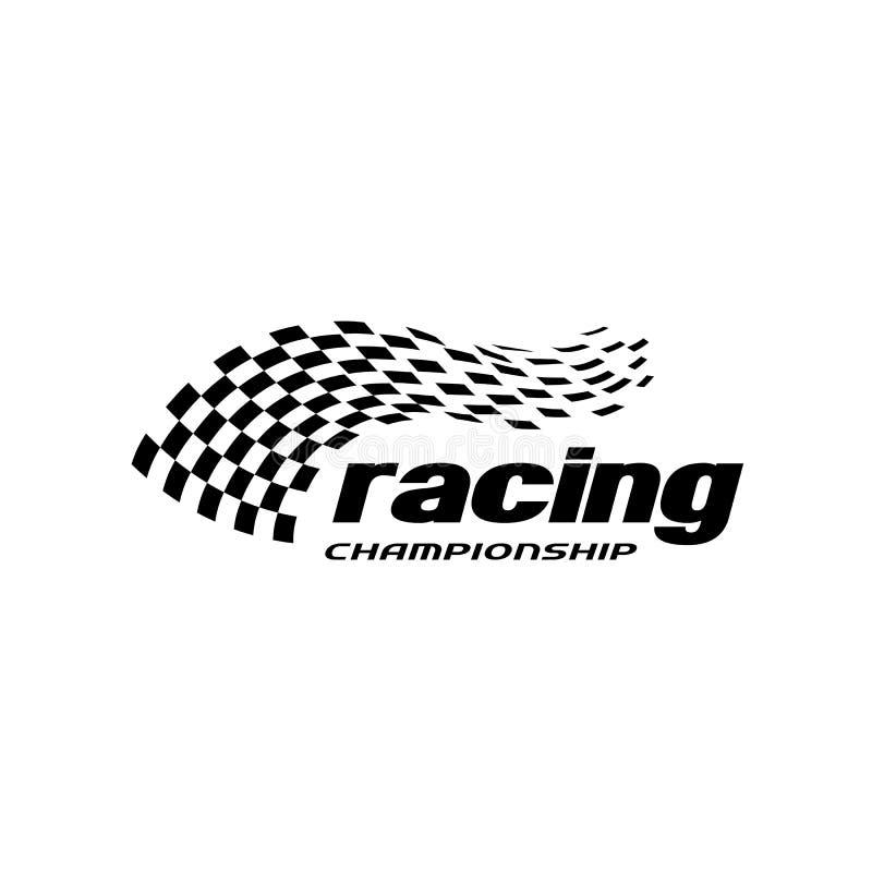 Simbolo dell'icona di vettore della bandiera della corsa modello a quadretti di logo della bandiera di progettazione semplice illustrazione di stock