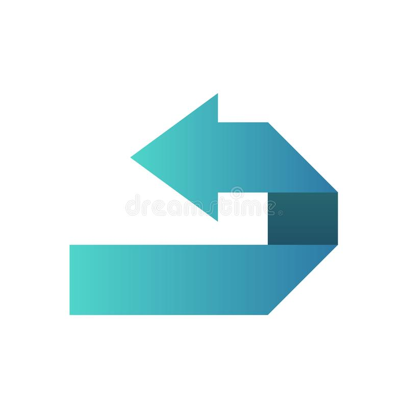 Simbolo dell'icona o freccia blu del bottone alla direzione inversa illustrazione di stock